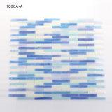 Azulejo de cristal azul y blanco del material de construcción de Backsplash de la pared