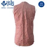 Roter Sleeveless V-Stutzen reizvolle Form-Dame-Bluse mit abstraktem Muster