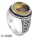 O novo modelo Prata 925 Ágata Natural o homem negro do anel CZ homens Anéis O