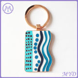 Cor da etiqueta de cães em aço inoxidável esmaltadas Chaveiro Key Ring