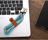 1m 3.3FT 8개의 Pin PU iPhone 5s 6 6s를 위한 가죽 번개 USB 케이블 비용을 부과 및 Sync 책임 USB 케이블 플러스 (브라운 빨간 파란 구획 진한 파란색 암갈색)