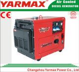 冷却される4kVA Ym7000t Ym186の移動式ディーゼル発電機の無声タイプ空気