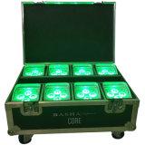 4*18W 6in1 Rgbaw紫外線電池LEDの同価Uplightのための8in1 Charing飛行ケース