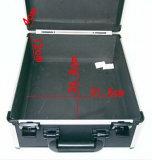 Caja de herramientas de aluminio negro grande puede agregar el equipo de instrumentos de logotipo Caja de herramientas