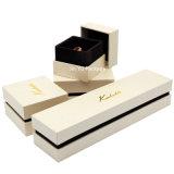 Rectángulo de empaquetado de la cartulina del oro del papel de la joyería sólida del regalo para el collar
