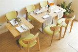 A mobília de madeira do restaurante dos pés do aço inoxidável ajustou-se para a venda