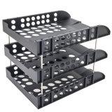 Sostenedores estante de visualización plástico de 3 de la grada de las bandejas de escritorio robustas del fichero