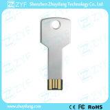 Silbernes Metallaluminiumschlüsselform-Blitz-Laufwerk mit Firmenzeichen (ZYF1732)