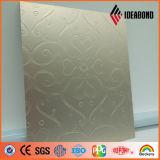 Panneau en aluminium composé métallique d'or d'onde de bande de 2017 séries de contact