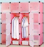 Venta de la cabina del guardarropa de la sala de estar, guardarropa plástico con la percha de ropa poste, guardarropas plegables baratos del dormitorio del panel DIY de los PP (EP-09)