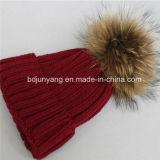 Variopinto personalizzare il cappello del Crochet con pelliccia reale POM sulla parte superiore