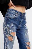 Восстановлен Rhinestone джинсы в Slouchy парень установите