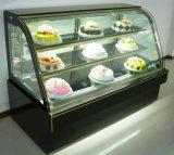 빵집에 의하여 냉장되는 대리석에 의하여 구부려지는 유리제 케이크 진열장 냉각기 또는 냉장고 진열장 냉각장치