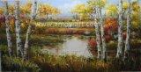 Handgemachter Birken-Baum-Landschaftssegeltuch-Kunst-Farbanstrich für Hauptdekoration