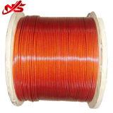 Corde galvanisée enduite par PVC rouge de fil d'acier de 6X19 3.18mm