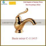 De oro escoger el grifo de agua sanitario del lavabo del cuarto de baño del cromo de las mercancías de la maneta
