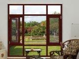 Hölzernes Übergangsdrucken-doppeltes isolierendes Glasaluminiumflügelfenster-Fenster für Schlafzimmer mit Sicherheits-Fliegen-Netz
