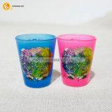 Стекло чашки съемки заморозка печатание этикеты пинка светлого цвета