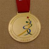 Medaglia superiore su ordinazione di ginnastica dell'oro con la sagola di sublimazione