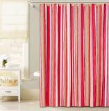 목욕탕을%s 빨간 세로줄 디자인 PEVA 샤워 커튼