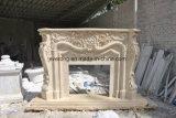 ベージュ大理石の現代簡単な切り分けるデザイン石造り暖炉