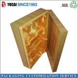 Rectángulo de regalo del papel de rectángulo de joyería con la cinta del oro