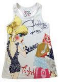 プリントケーキ(SV-020)が付いている子供の女の子のTシャツの方法女の子のベスト