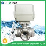 horizontaler L-Dreiwegetyp elektrisches SteuerEdelstahl-Ventil motorisiertes betätigtes Wasser-Kugelventil