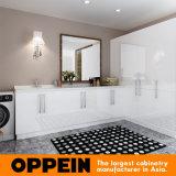 Armários de sala de lavagem de madeira Lacquer branco de alto brilho da Austrália (OPW-L02)
