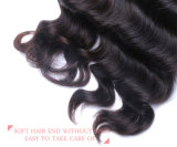 Trama natural indiana do cabelo preto de cabelo humano da onda profunda frouxa real do fechamento do laço da natureza