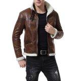 Xiaolv88 мужчин фо куртка из натуральной кожи коричневого цвета бомбардировщик мотоциклов велюр Shearling стенд втулку