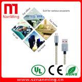 Carga del cable del USB del micr3ofono y transferencia de datos trenzadas de nylon para el androide