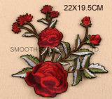 La mode personnalisent la connexion de broderie de vêtement de l'Applique 3D Wowen de fleur de Rose
