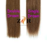 Trama desenhada natural do cabelo humano do cabelo de Remy do cabelo do russo da cor de Brown