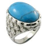 Pegamento oval de piedra de Rubí acero médicos gran joya de los anillos de piedra