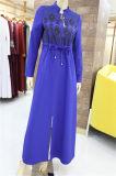 Le ressort de l'automne Abaya musulmane des vêtements à manches longues femmes robe maxi lâche islamique enduire