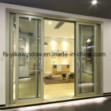 Rail de porte de patio Yika Triple Double en aluminium porte coulissante en verre trempé avec moustiquaire