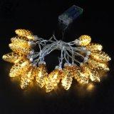 Kleines goldenes Pinecone Weihnachtskugel-Licht innerhalb des Sets 15PCS