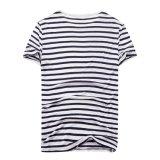 100% T-shirt à rayures noir et blanc décontracté chanvre