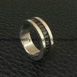 Titanio embutido piedra Ring&#160 del negro de la manera de la joyería de Shineme; (TR1916)