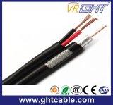 коаксиальный кабель связи RG6 75ohm CATV с 2 проводами силы