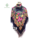 Dame Fashion Square Scarf mit Troddel-Pfingstrose gedrucktem Schal-Großverkauf