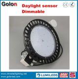 Luz elevada do louro do diodo emissor de luz do UFO do sensor 130lm/W 60W 100W 200W 250W 150W de Dimmable da lâmpada de Highbay
