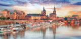 Pintura al óleo costera hermosa moderna de la impresión de la ciudad
