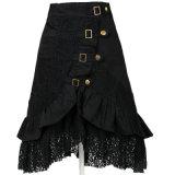 2017 Mulher Black Rockabilly Lace Asymmetric A Line Skirt