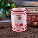 Tarro de cerámica de la vela de la Navidad con la maneta