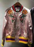 Casaco de couro bordado da senhora, roupas de moda