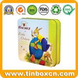 Caixa quadrada de lata de chocolate, latas metálicas para embalagem de alimentos