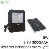 5W IP65 Waterproof a luz de inundação solar ao ar livre do diodo emissor de luz do sensor de movimento