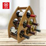 Estante de madera triangular único del vino para la botella 6 con el MDF